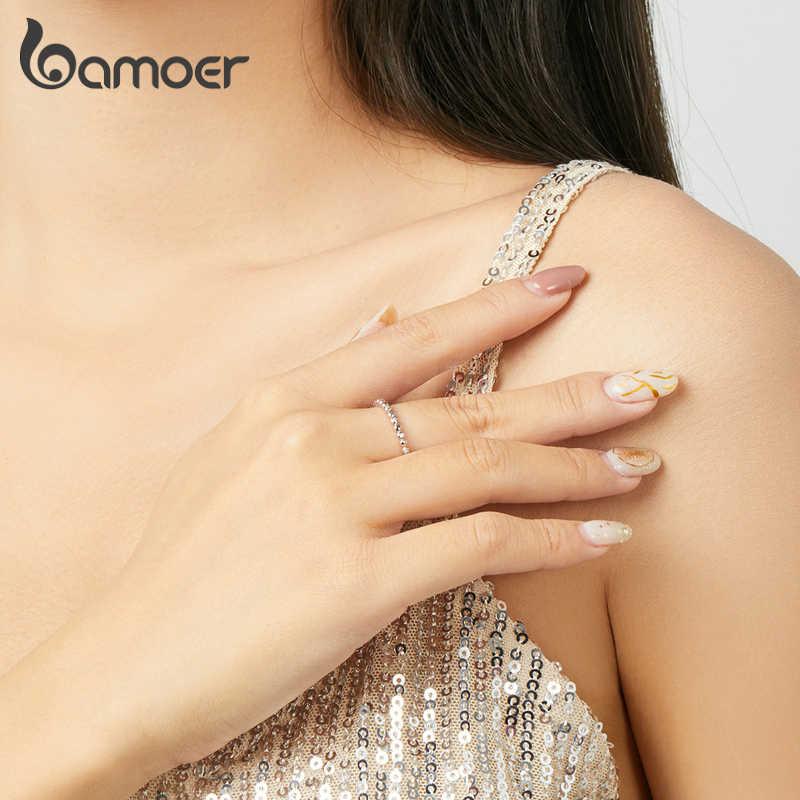 Bamoer CZ Dichiarazione di Matrimonio Anelli di Barretta per Le Donne Autentico 925 Sterling Silver Anello Aperto Regolabile Bauge Moda BSR107