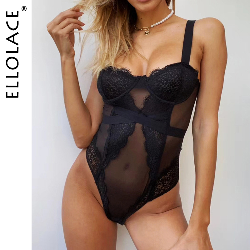 Ellolace Lace Bodysuit Women Bodycon Transparent Body Female Push up Rompers Black Sexy Sleeveless Bodysuit Wholesale