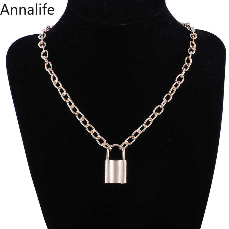 2019 Jewelry stainless steel Padlock Necklace punk hiphop rock-lock men gothic collar ras du cou collier Friendship gifts