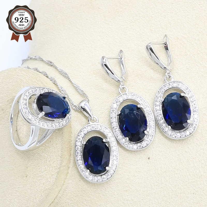 סגלגל כהה כחול 925 כסף תכשיטי סט חתונת נשים עגילי שרשרת תליון טבעת אריזת מתנה