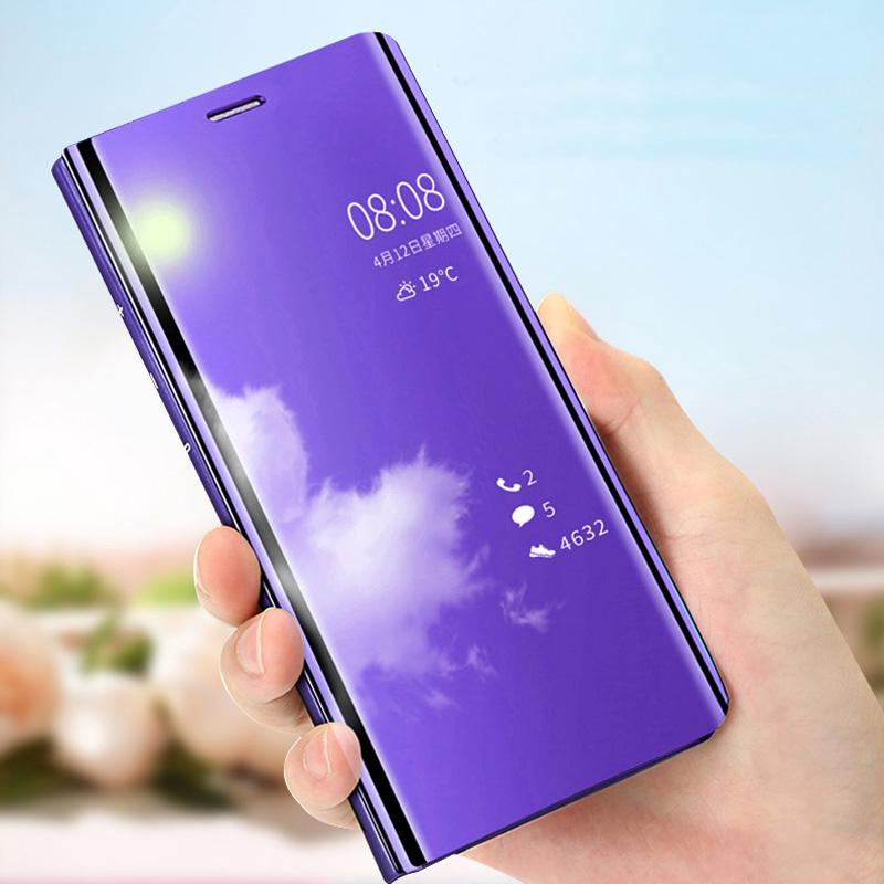 Realme C3 C2 C1 Smart Clear Mirror <font><b>Case</b></font> For <font><b>OPPO</b></font> A12E A91 A31 A8 A1K <font><b>A5</b></font> <font><b>2020</b></font> <font><b>A9</b></font> <font><b>2020</b></font> A3 <font><b>2020</b></font> A11X A11 Flip Leather Phone Cover image