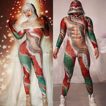Male Female Dance Team Performance Costume Christmas Party Nightclub Stage Wear Bar Club Printed Stones Skinny Jumpsuit Clothes