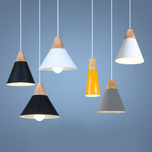 Pendant lights wooden metal Colorful E27 led pendant lamp 7colors nordic design hanging dinning room decor rope light