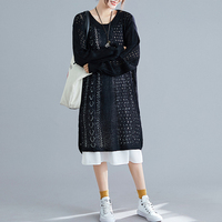 #0833 Autumn Winter Woman Knitting Dresses And Thin Cotton Tshirt Dress Two Piece Set Casual Loose Midi Dresses Ladies Clothing