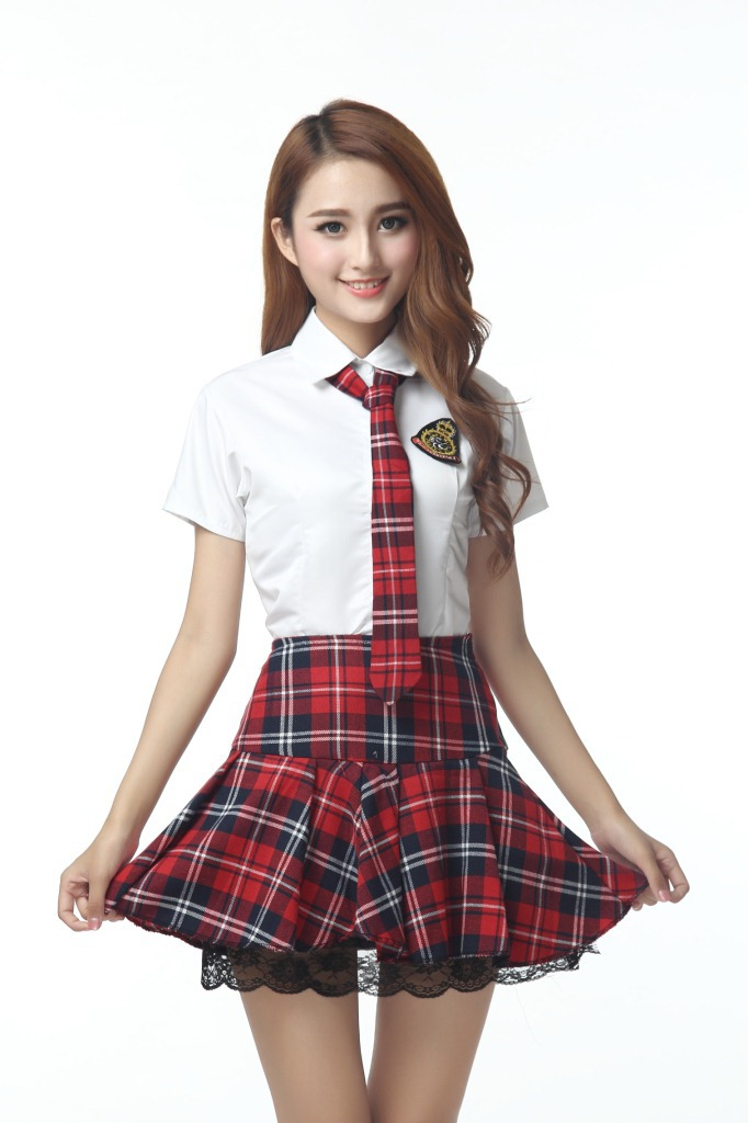 HOT Short Sleeves Sexy Women's Plaid School Girl Uniform Lingerie Student Uniform Cosplay Outfits Costume Plus Size 3XL