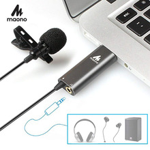 MAONO Lavalier Microphone Metal Clip on USB Microphone Omnidirectional Condenser Micophone Shirt Collar Microphone Youtube Mic
