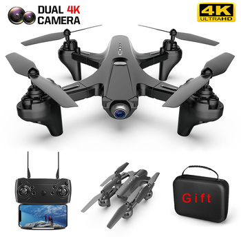 LS-TUT RC Drone with Camera 4k HD Dual Camera WiFi FPV Drone Folding Drone Headless Mode One Key Return RC Quadcopter for Adult