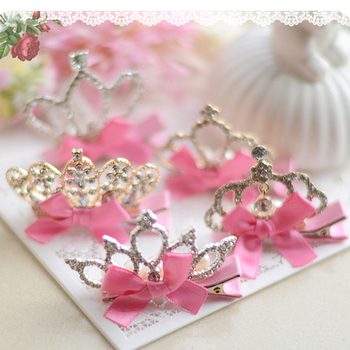 New Arrival Baby Girls Children Shiny Crown Rhinestone Hairpins Princess Ribbon Bow Crystal Hair Clip Pearl Barrette Accessories new arrival baby girls children shiny crown rhinestone hairpins princess ribbon bow crystal hair clip pearl barrette accessories