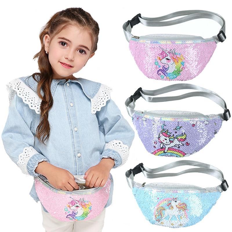 Fashion Unicorn Sequin Fashion Girls Waist Bag Fanny Pack Children Cartoon Sequins Printing Chest Bag Outdoor Travel Pouch