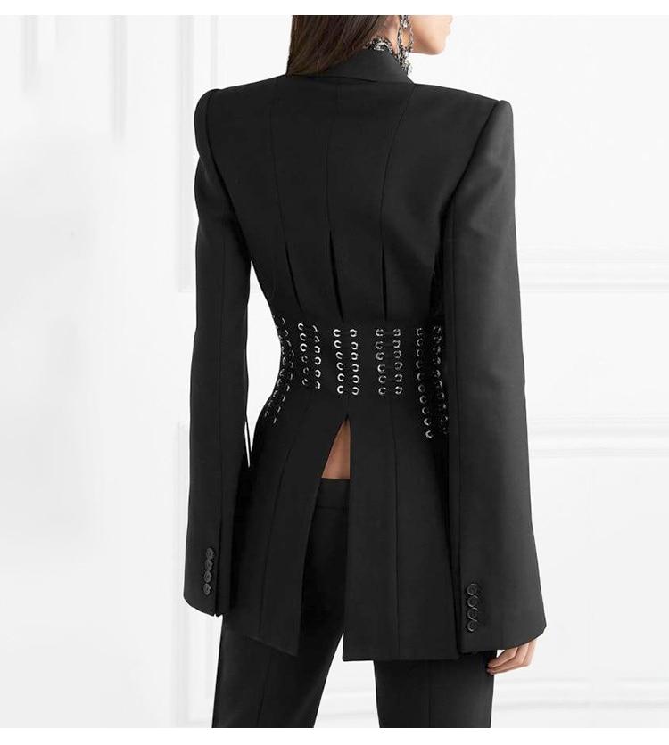 SHTONGHUAWomen's Suit Solid V Neck Long Sleeves cross bandage Blazer Tops High Waist Wide-legged pants Two Piece Set Female 2019 21