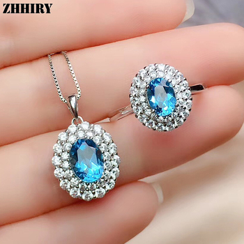 ZHHIRY For Women Natural Blue Topaz Gemstone Jewelry Set Pendant Ring Chain Solid 925 Sterling Silver Genuine Sets Fine Jewelry