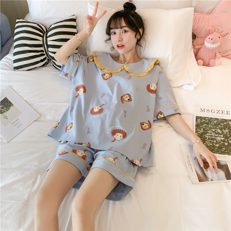 2020 Summer Pajamas Cotton Comfortable Home Service Student Pajamas Cute Printed Home Service Lapel T-shirt Casual Ladies