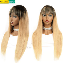 Sexay #27 Honey Blonde Human Hair Wigs With Long Bangs #27 #99J #1B Blue Silky Straight Wig Machine Ombre Human Hair Wigs Remy(China)