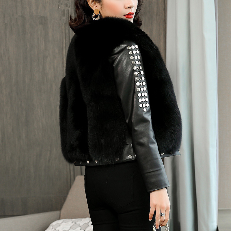 Jacket Leather Genuine Real Fox Fur Coat 2020 Winter Jacket Women 100% Real Sheepskin Coat Female Bomber Jackets MY3751 S