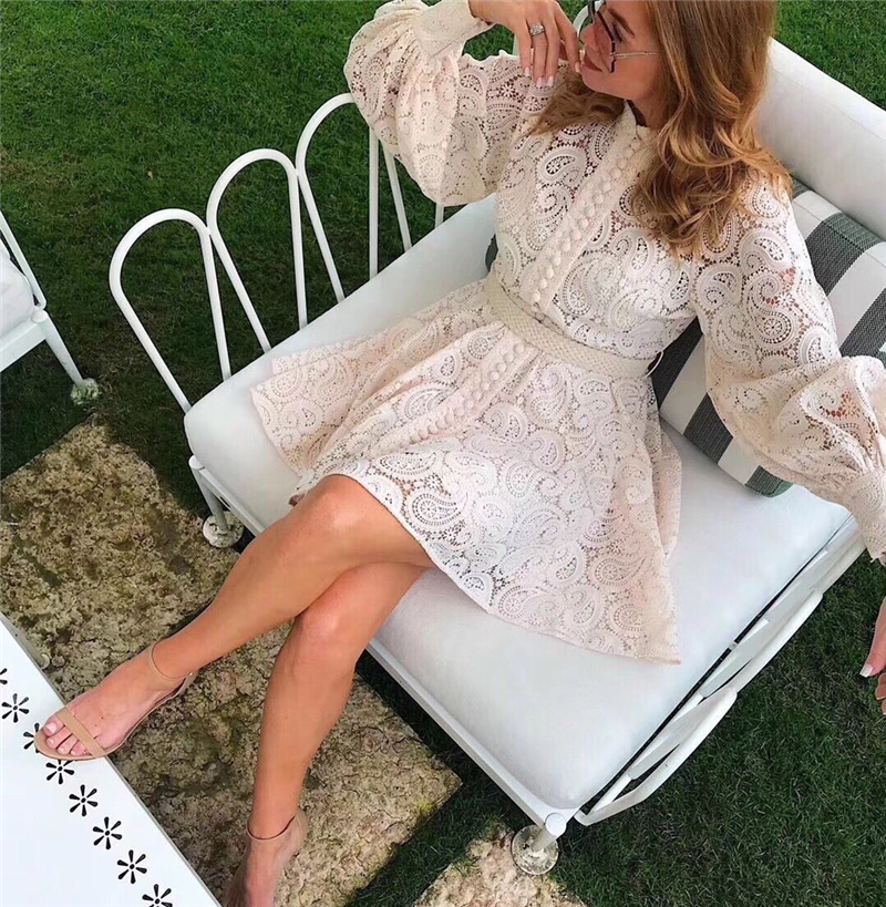 Image 3 - MoaaYina Fashion Designer Runway dress Autumn Winter Women Dress  Puff Sleeve Lace Hollow Out Lace Up DressesDresses