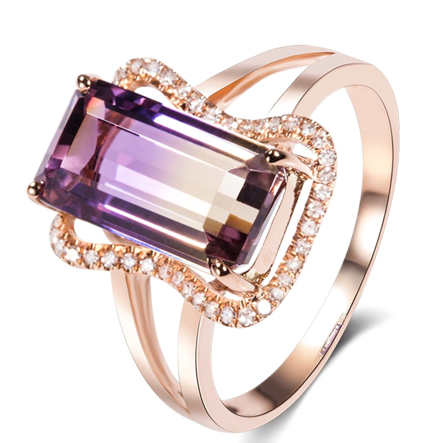 Women Fashion Jewelry 18 K Gold Plated Purple Amethyst Cocktail Ring Size 6-10