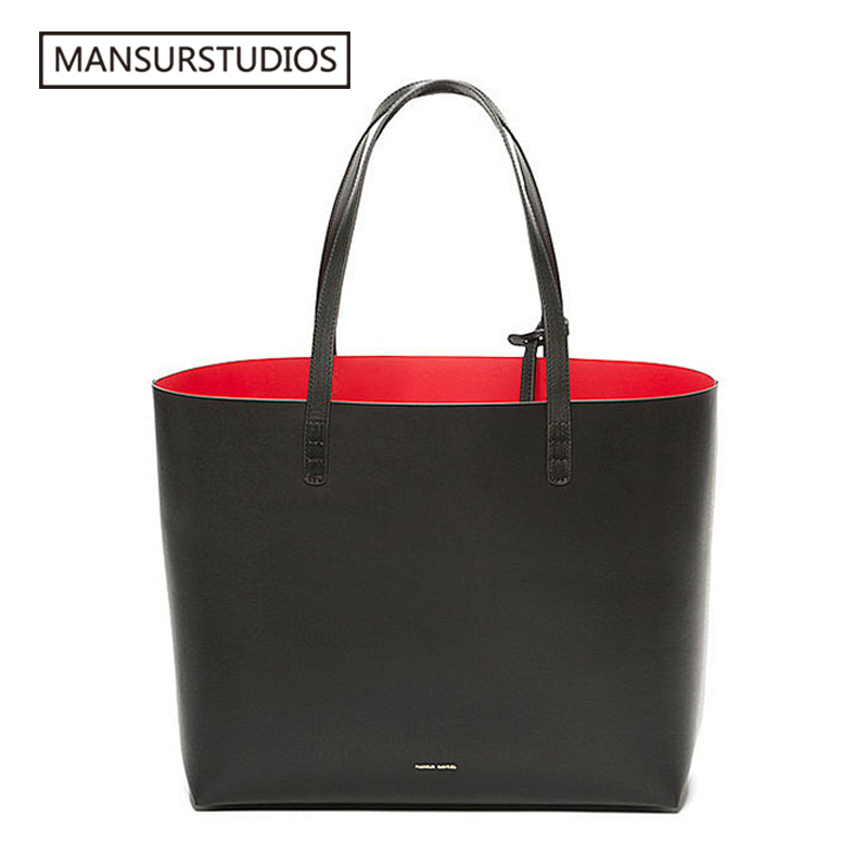 MANSURSTUDIOS Women Leather Tote Bag , Mansur Women Real Leather Beach Bag, Gavriel  Ladies Handbags, Free Shipping