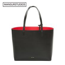 MANSURSTUDIOS women leather Tote Bag , Mansur Women real Leather Beach Bag, Gavriel  ladies Handbags, free shipping