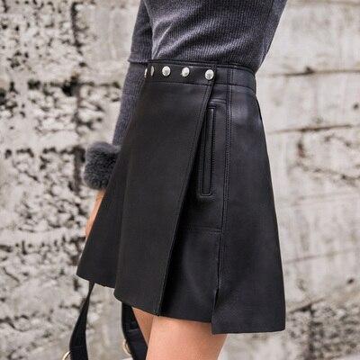 Image 2 - 2019 New Fashion Genuine Real Sheep Leather Skirt J32Skirts
