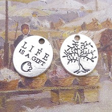 100pcs Tree Charms 18mm x 20mm DIY Jewelry Making Pendant antique silver color 20pcs antique silver tone dog charms cat pendant for jewelry accessories making 19 18mm