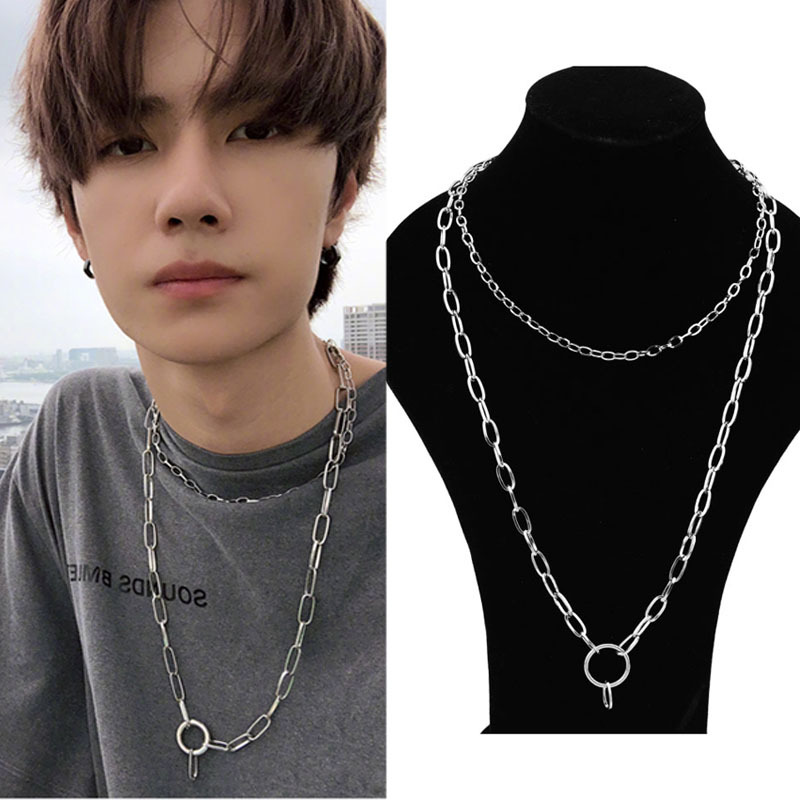 Stainless Steel Double Layer Men Necklace Man Accessories Women Punk Hip Hop Jewelry Male Curb Cuban Link Chains Men S Necklaces Chain Necklaces Aliexpress