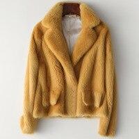 Winter Full Pelt Real Mink Fur Coat Women Fashion Short Mink Fur Jackets Luxurious High Quality Warm Thick Natural Slim Outwear
