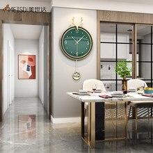 MEISD – Horloge à Quartz silencieuse, pendule, montre ronde verte, murale en résine, noire, décoration de maison, pointeur en métal, livraison gratuite