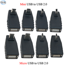 цена на YuXi 90 Degree Left/Right/up/Down angle USB 2.0 Type A Female to 5-pin B Male Micro / Mini USB OTG Host USB 2.0 adapter