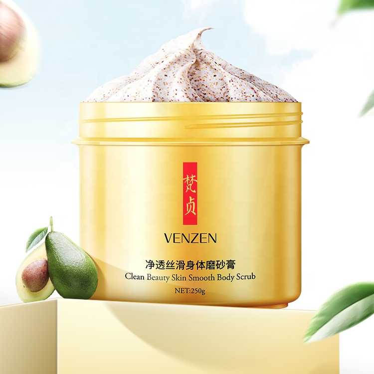 VENZEN Body Scrub  Deep Cleansing Exfoliating Gel Dead Skin Avocado Cream Mooth Beauty Body Skin Care 250g