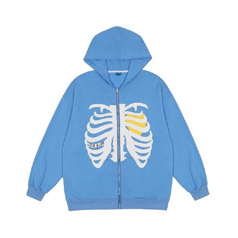 Skull Print Hooded Sweatshirt Park Harajuku Warm Hoodie Zipper Hooded Sweatshirt Retro Street Hotel Hoodie Men Ladies Streetwear
