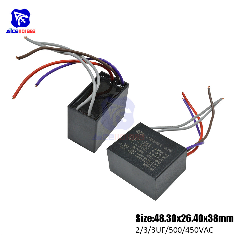Diymore CBB61 AC 450 -500V 2μF/3μF/3μF±5% Capacitance 50/60Hz 5 Wires Running Capacitor For Air Conditioner Fan Motor