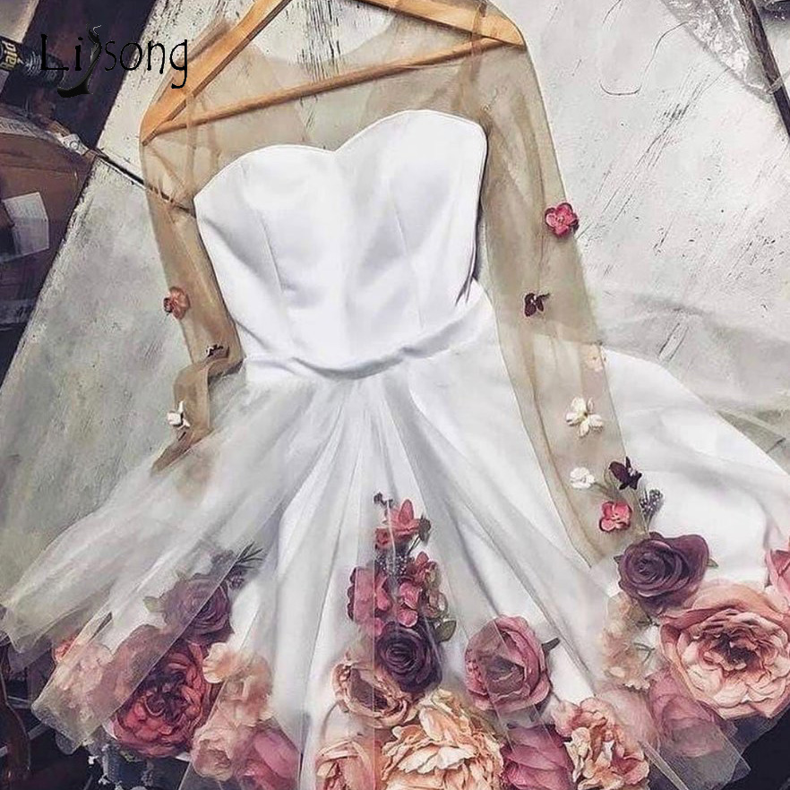 Pretty 3D Flower Lady   Cocktail     Dresses   See Thru Full Sleeves Floral Short Homecoming   Dresses   Sweet Prom Gowns 2019