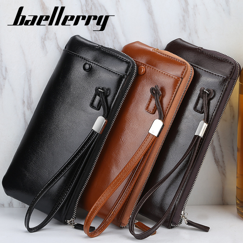 Classic Men Wallets Long Style Card Holder Male Purse Quality Zipper Large Capacity Big Leather Zipper Business Wallet For Phone