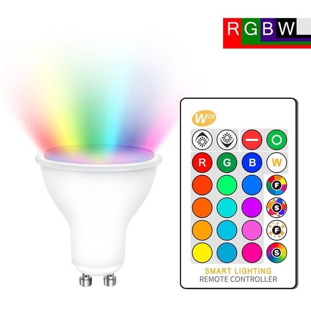 GU10 RGB LED ampul 8W IR uzaktan kumanda AC 85 265V atmosfer aydınlatma 16 renk değiştirilebilir dekoratif işıklar sıcak beyaz