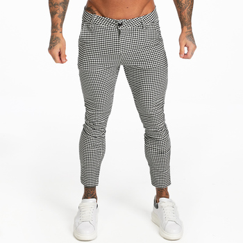GINGTTO Men's Stretch Chinos Trousers Skinny Fit Chino Pants for Men Plaid Ankle Length Comfy Stretchy Chino Slim Fit zm357 фото