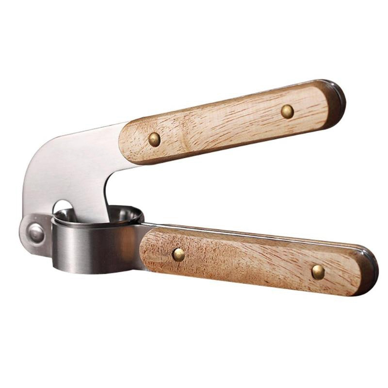 Stainless Steel Garlic Press With Wooden Handle Garlic Crusher Cutter Ginger Press Slicer Kitchen Accessories|Manual Juicers| |  - title=