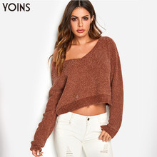купить 2019 YOINS Fall Autumn Winter Sweater Women Pull Femme Jumper Tops Rust V-neck One Shoulder Long Sleeve Sweaters Pullovers S-XL по цене 867.55 рублей