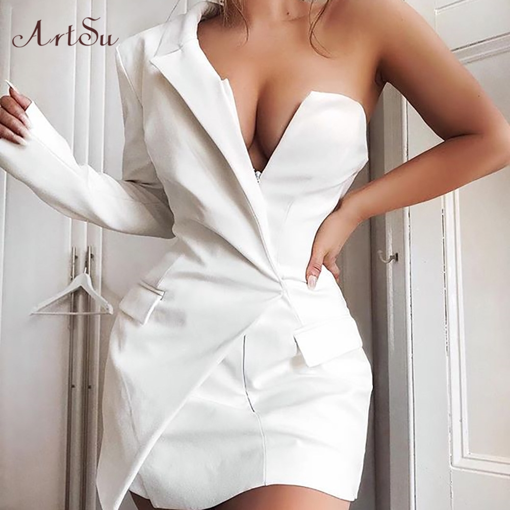 ArtSu One Shoulder Sexy Backless Blazer Dress Women Deep V-Neck Zipper Fashion Party Club Wrap Mini Dresses Fall 2019  ASDR60463