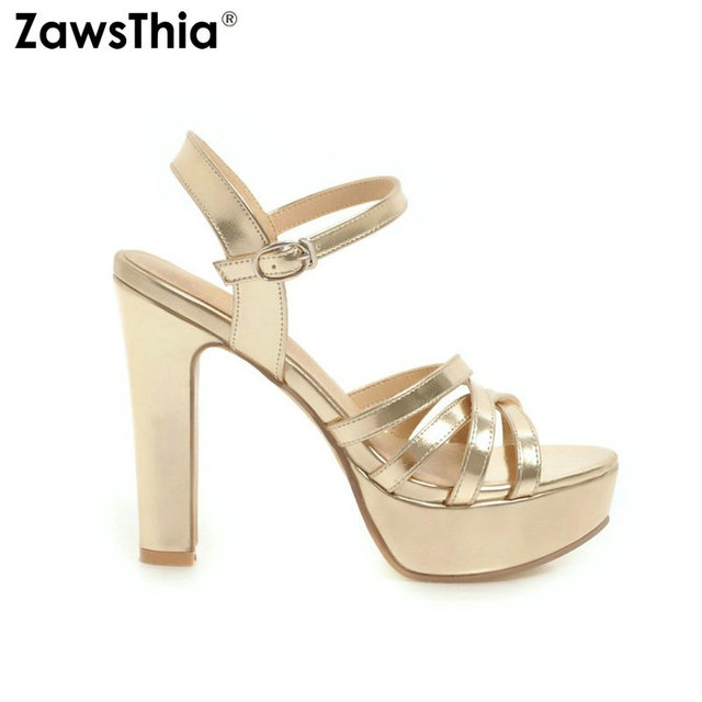 ZawsThia جديد 2020 أحذية الصيف للنساء الذهب والفضة الأبيض منصة كتلة عالية الكعب الكاحل حزام النساء الصنادل حجم كبير 34 43
