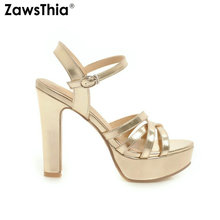 ZawsThia new 2020 summer shoes for women gold silver white platform block high heels ankle strap women sandals large size 34 43