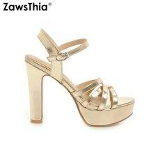 Zawsthia 新 2020 夏の靴ゴールドシルバーホワイトプラットフォームブロックハイヒールアンクルストラップの女性のサンダル大サイズ 34 43