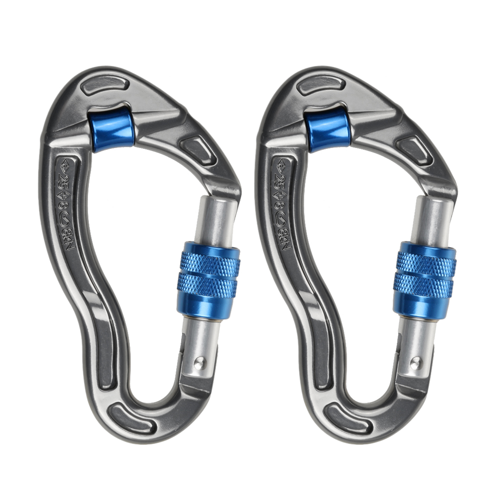 2x Screw Locking Carabiner Mountaineering Rock Climbing Arborist Karabiners Camping Hiking Climbing Accessories