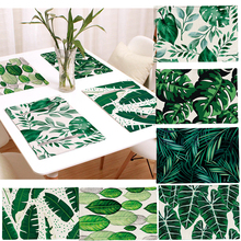 1pcs Creative Non-slip Padded Kitchen Table Mat Cotton Linen Napkin Green Leaf Forest Rural Style Pattern Decoration Placemat