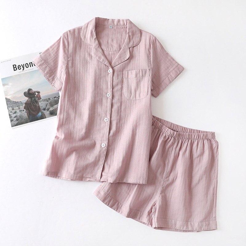 Image 5 - Lovers Solid Color Simple Style Pajamas Set Comfort Gauze Cotton Men And Women Sleepwear Short Sleeve+Pants Summer Thin HomewarPajama Sets   -