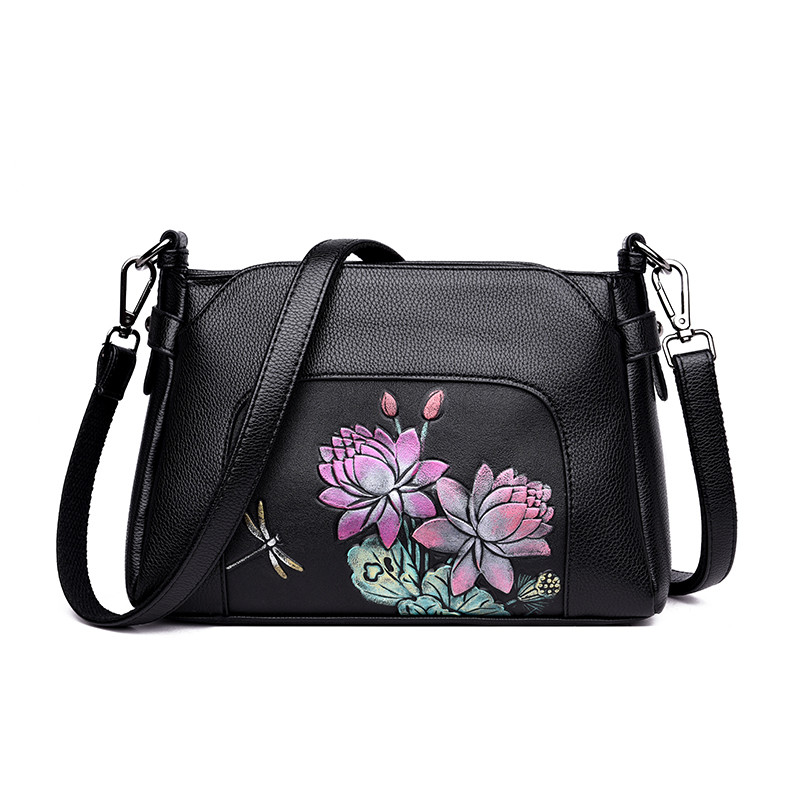 Peacock Women Genuine Leather Handbags Female Hand Bag Mother Shoulder Bag Chinese Style Crossbody Bag For Women 2018 Sac A Main