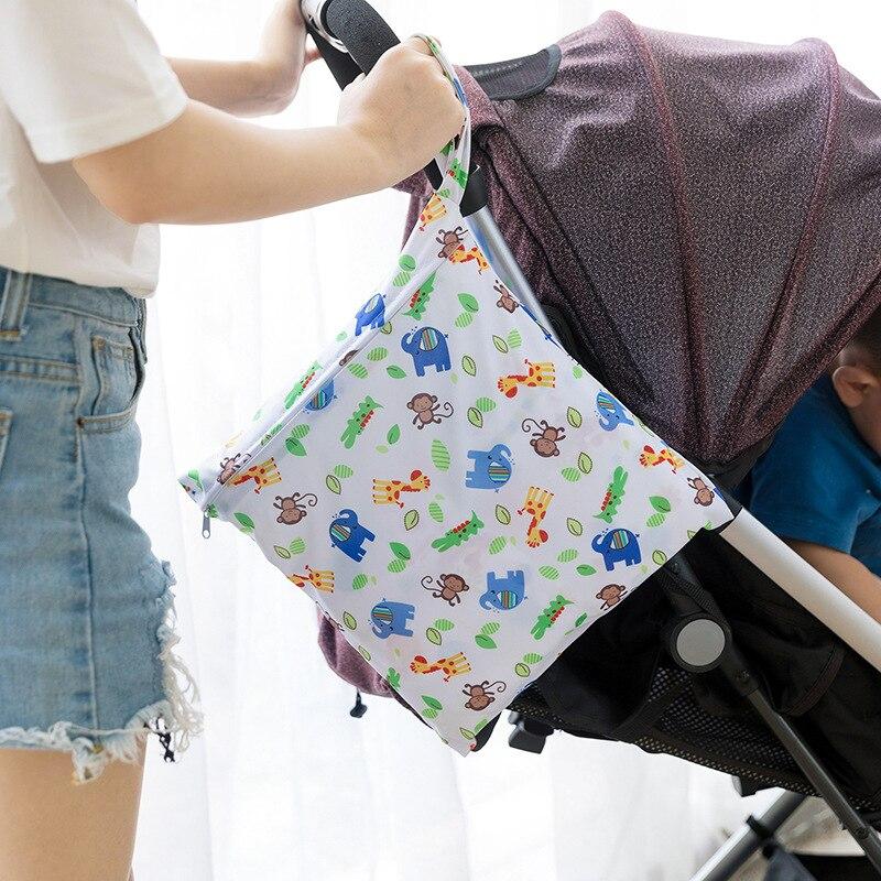 Baby Diaper Bag Infant Travel Waterproof  Wet Bags Baby Reusable Cartoon Diaper Bag Baby Nappy Wet Dry Bags Wetbags With Zipper