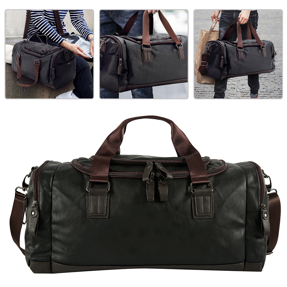 Waterproof Travel Bag Men's Black Handbag PU Leather Large Capacity Travel Duffle Multifunction Tote Casual Crossbody Bags