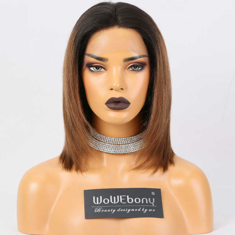 #1B 30 Ombre Human Hair Wig Lace Front Human Hair Wigs Yaki Straight Brazilian Remy Bob Lace Front Wigs Pre Plucked 150% Density