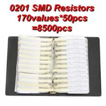 0201 Sample Book 1% 0ohm to 10M SMD SMT Chip Resistors Assortment Kit 170Values x50Pcs 8500Pcs Resistor Assorted Set