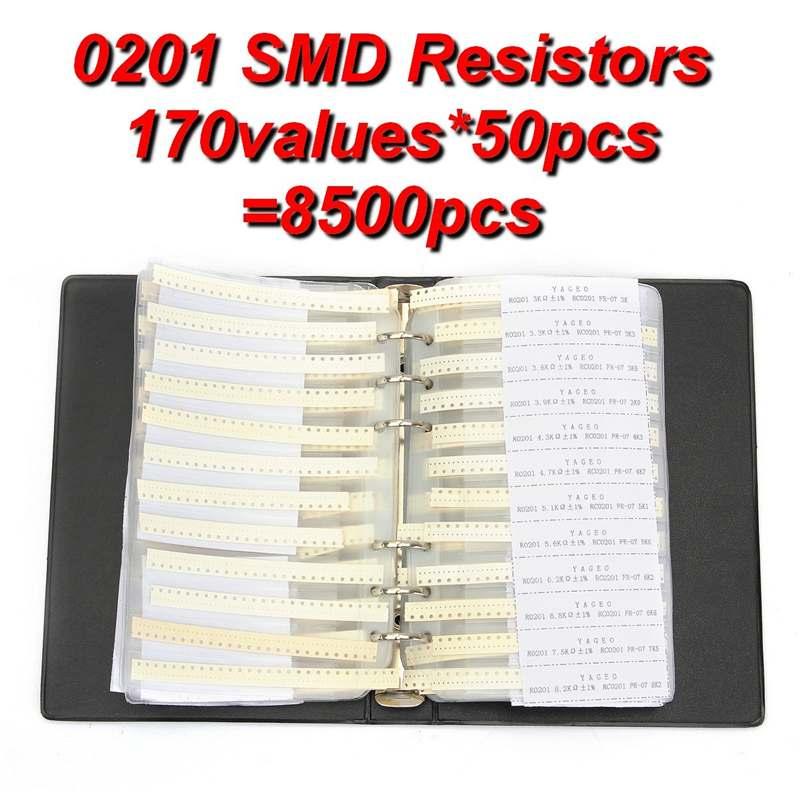 0201 probe Buch 1% 0ohm zu 10M SMD SMT Chip Widerstände Sortiment Kit 170 Werte x50Pcs 8500Pcs Widerstand assorted Set